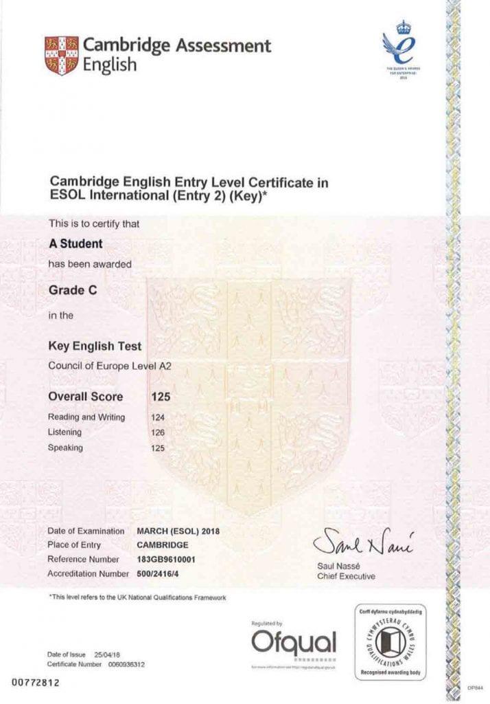 El título del KET puede tardar hasta 2 meses en llegar, si haces el examen en papel.